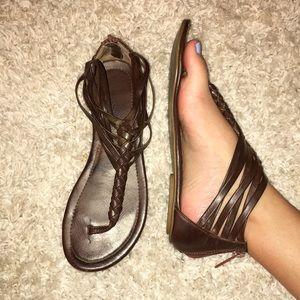 Dark brown strappy sandals!!